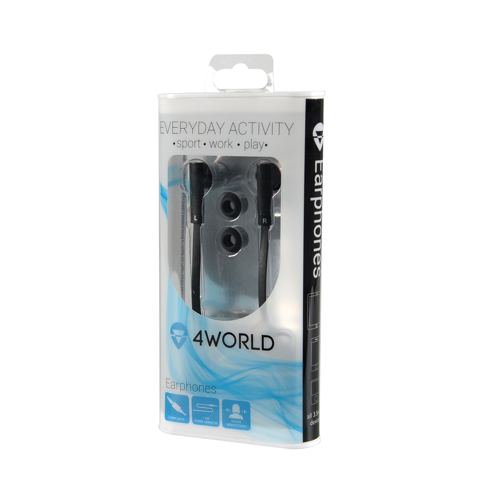 4World Sluchátka MP3 Flat 3.5mm 1.2m Black
