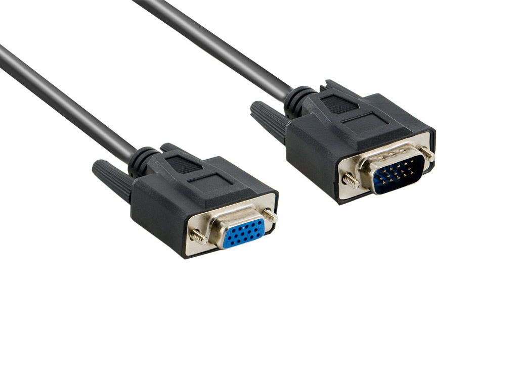 4World Kabel VGA 15M-15F 1.8m Black