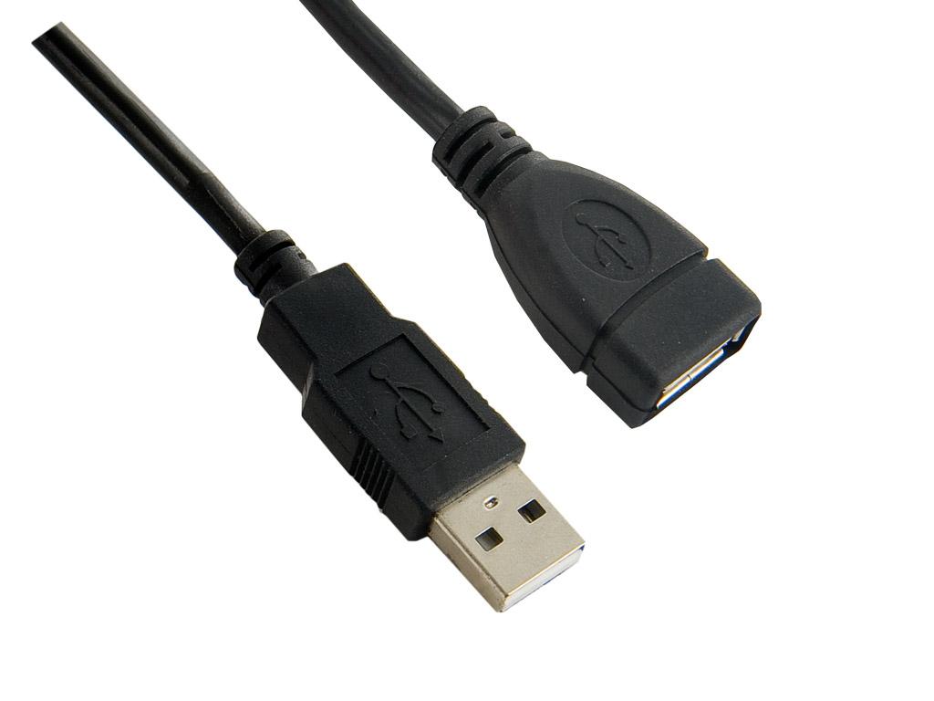 4World Kabel USB 2.0 AM-AF 1.8m Black