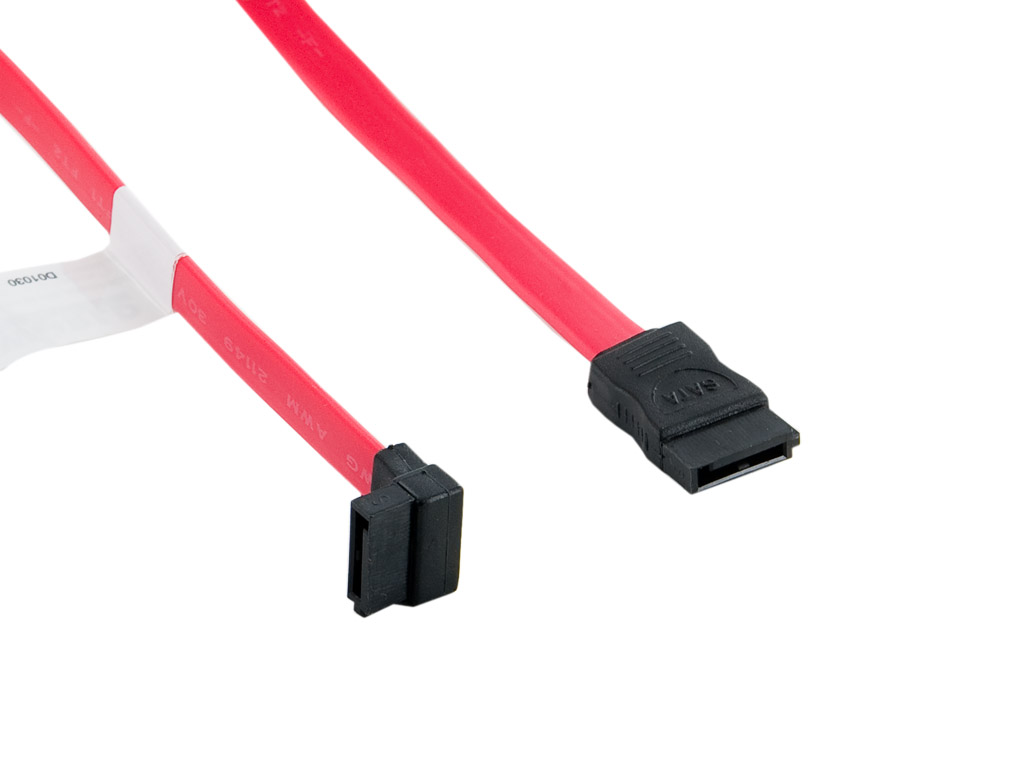 4World Kabel SATA M/M 7pin zalomený 50cm Red