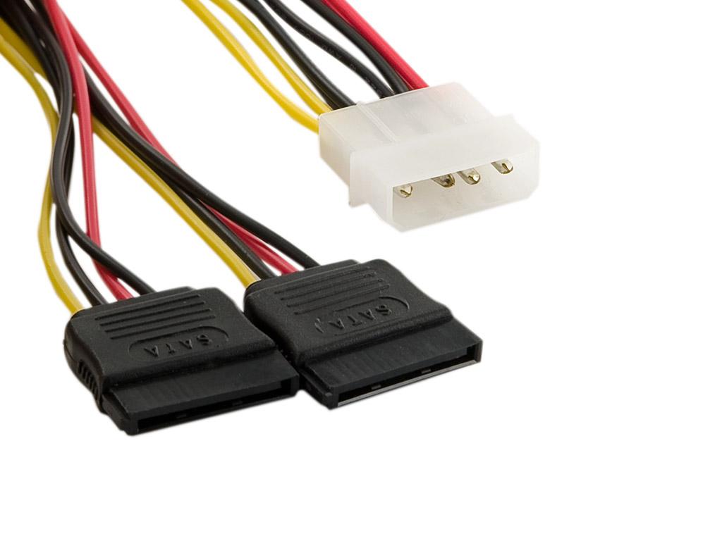 4World Napájecí kabel Molex M-2xSATA F 15cm