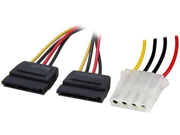 4World Napájecí kabel Molex M - 2xSATA F 15cm - 6858