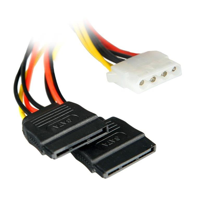 4World Napájecí kabel Molex F - 2xSATA F 15cm