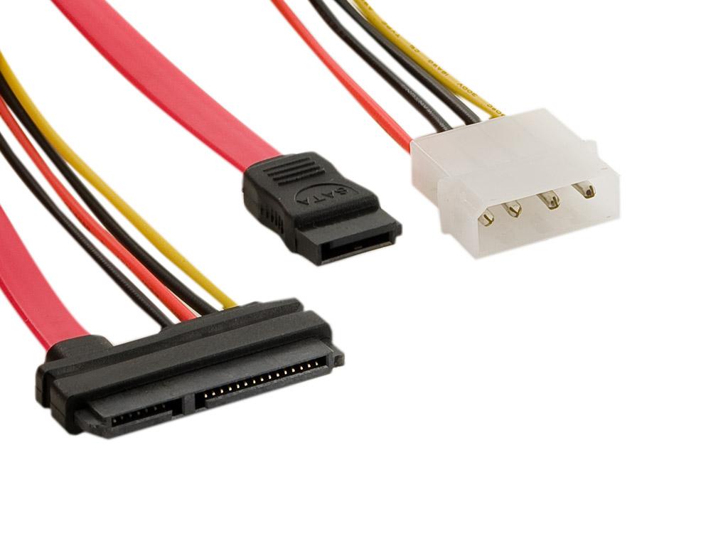 4World Kabel SATA3 22pin F - SATA3 7pin F+LP4 24cm
