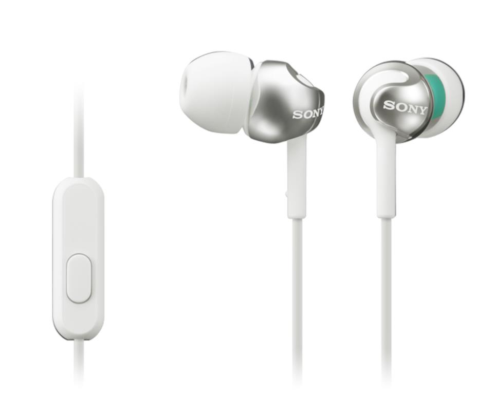 SONY sluchátka MDR-EX110AP, handsfree, bílé