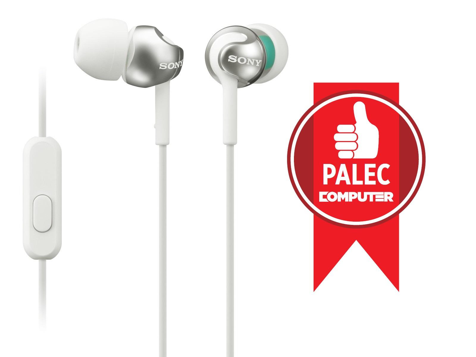 SONY sluchátka MDR-EX110AP, handsfree, bílé - MDREX110APW.CE7