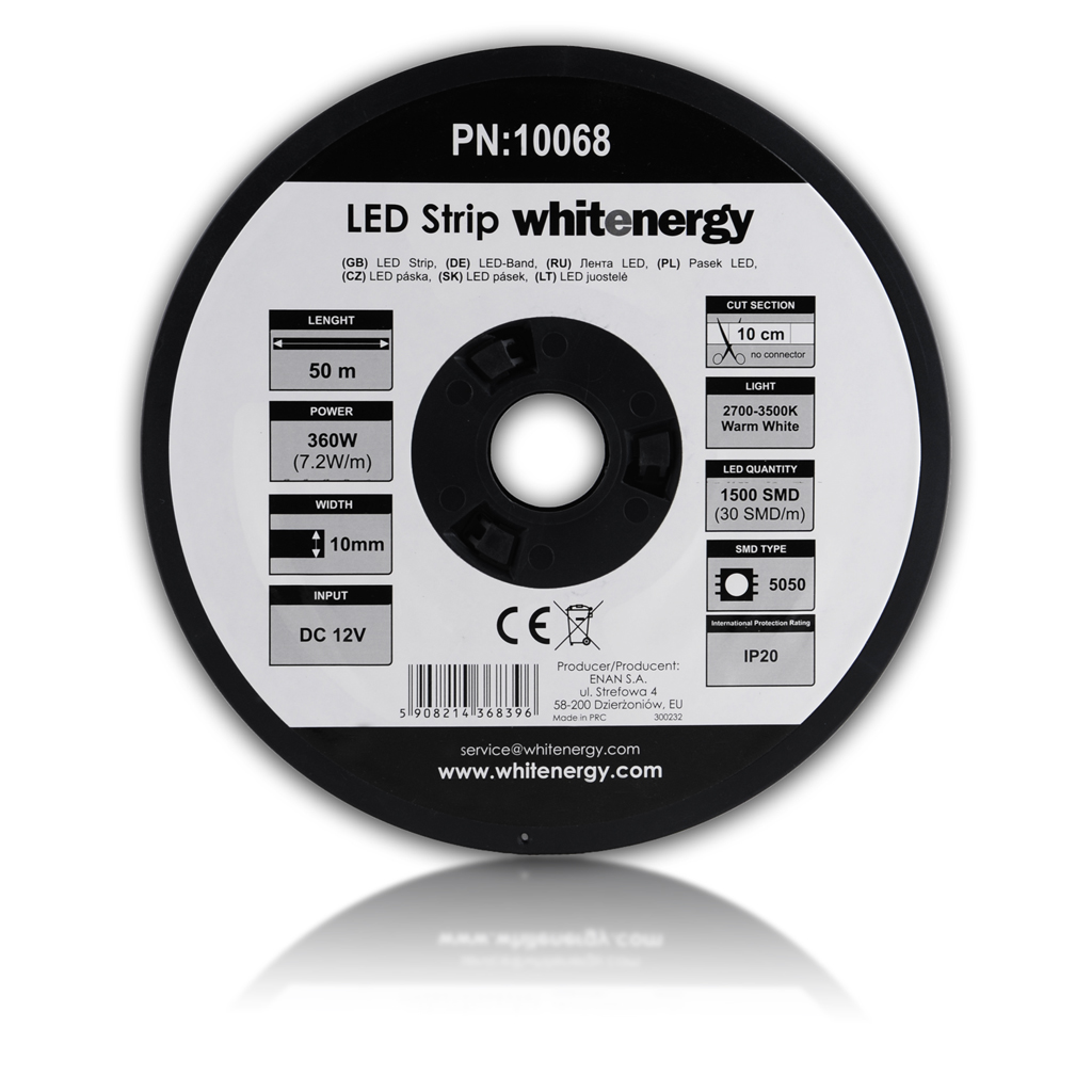 WE LED páska 50m SMD5050 7.2W/m 10mm teplá bílá - 10068