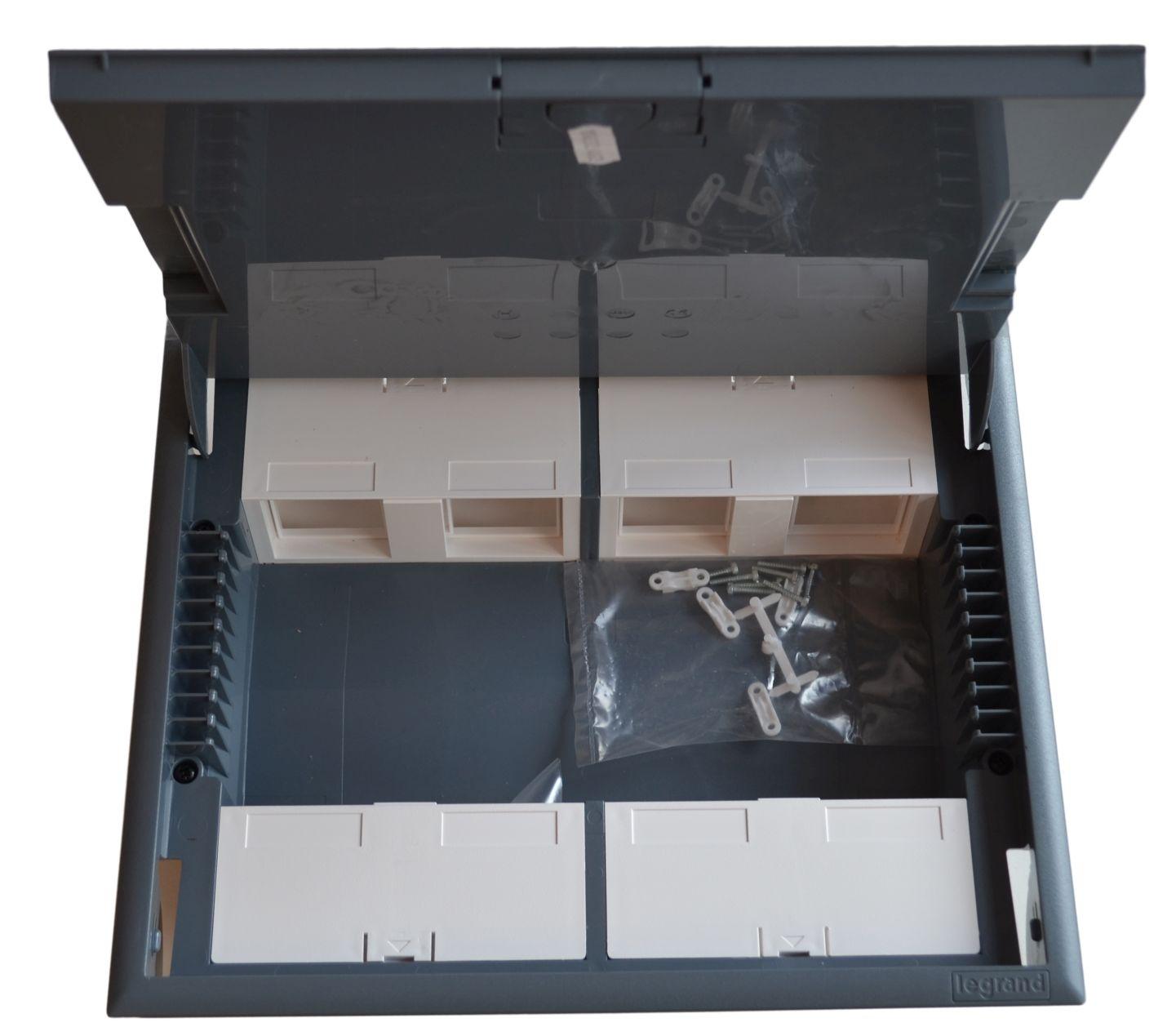 PODLAHOVÁ krabice, 12 modulů, šedý kryt