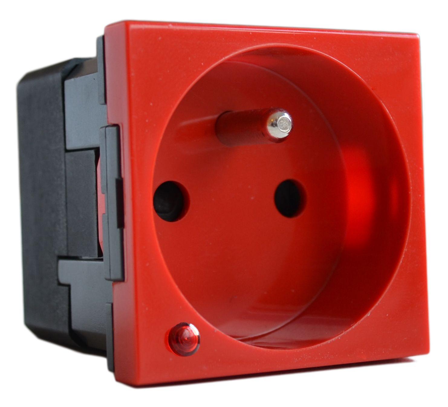 MOSAIC zásuvka 2p+t s optickou přep. ochr. červená