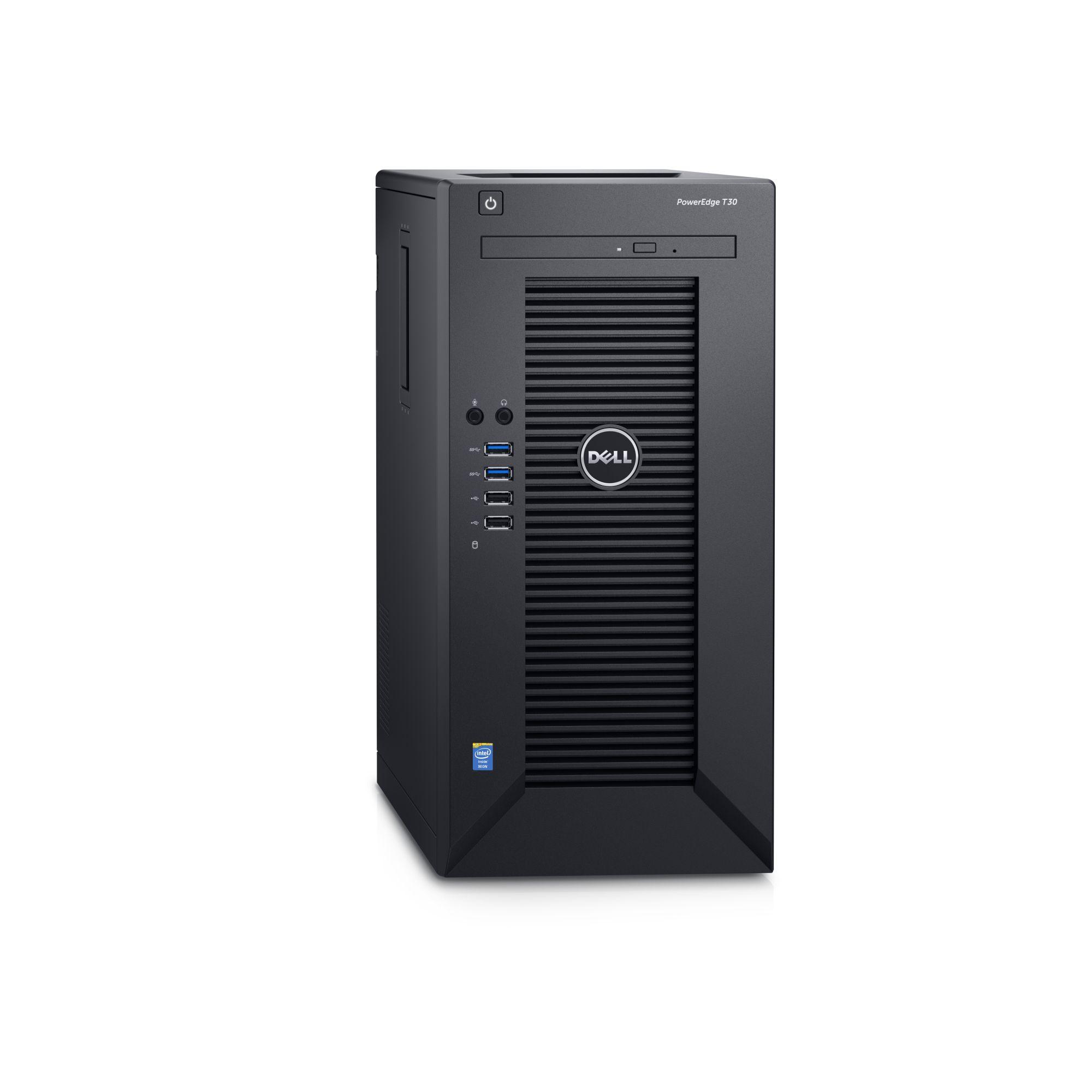 Dell PowerEdge T30 E3-1225 v5/8GB/2x1TB SATA/RAID 1/DVDRW/1xGLAN/290W/3RNBD/Černý