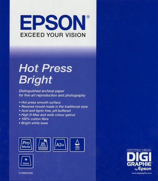 EPSON Hot Press Bright Paper, A3+ (25 sheets)