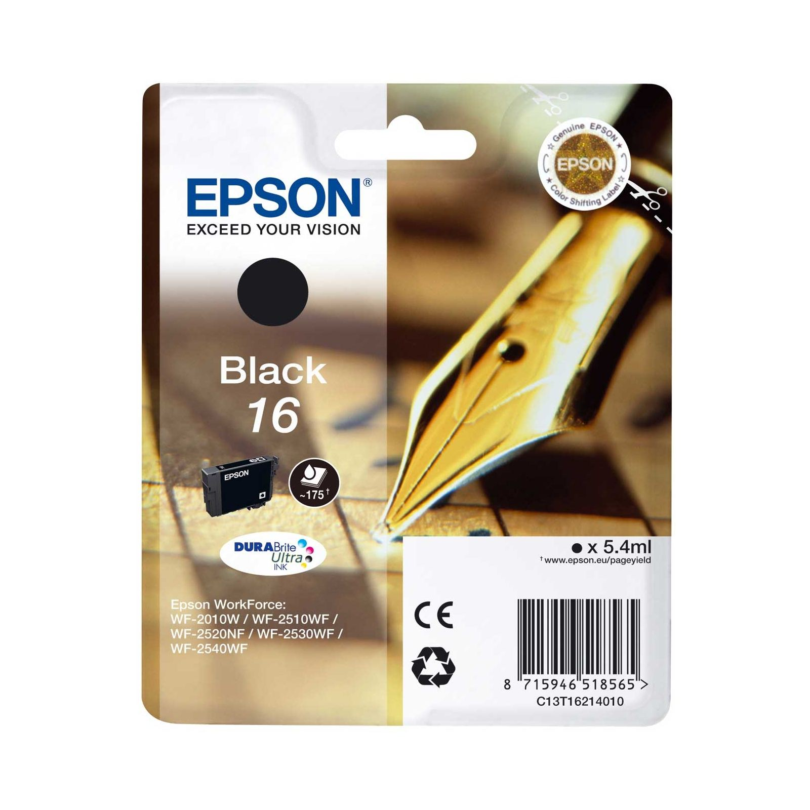 Epson T1621 16 DURABrite Ultra Ink  Black
