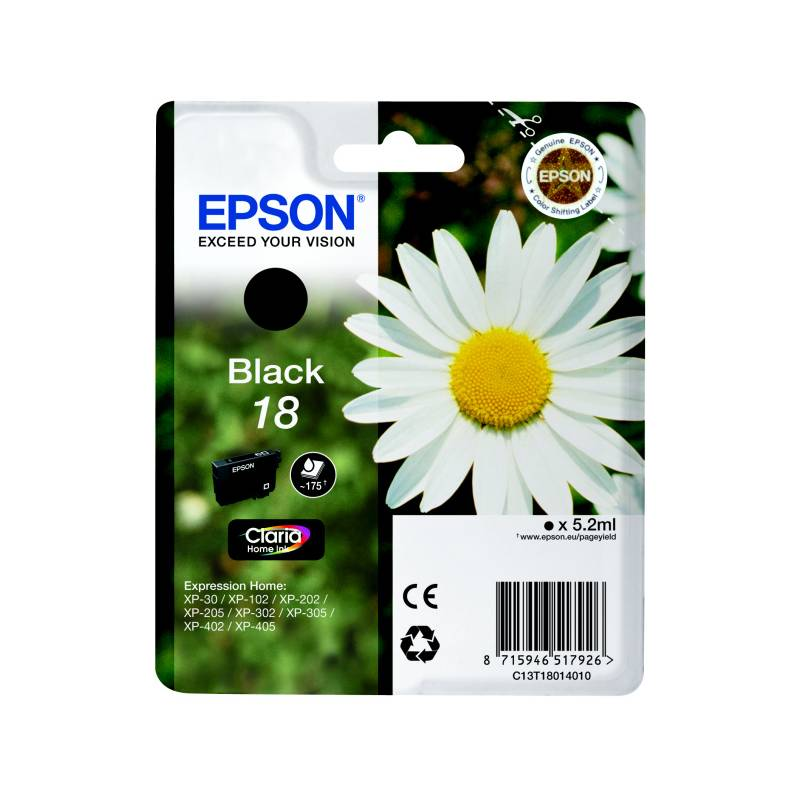 Epson T1801 Singlepack 18 Claria Home Ink Black