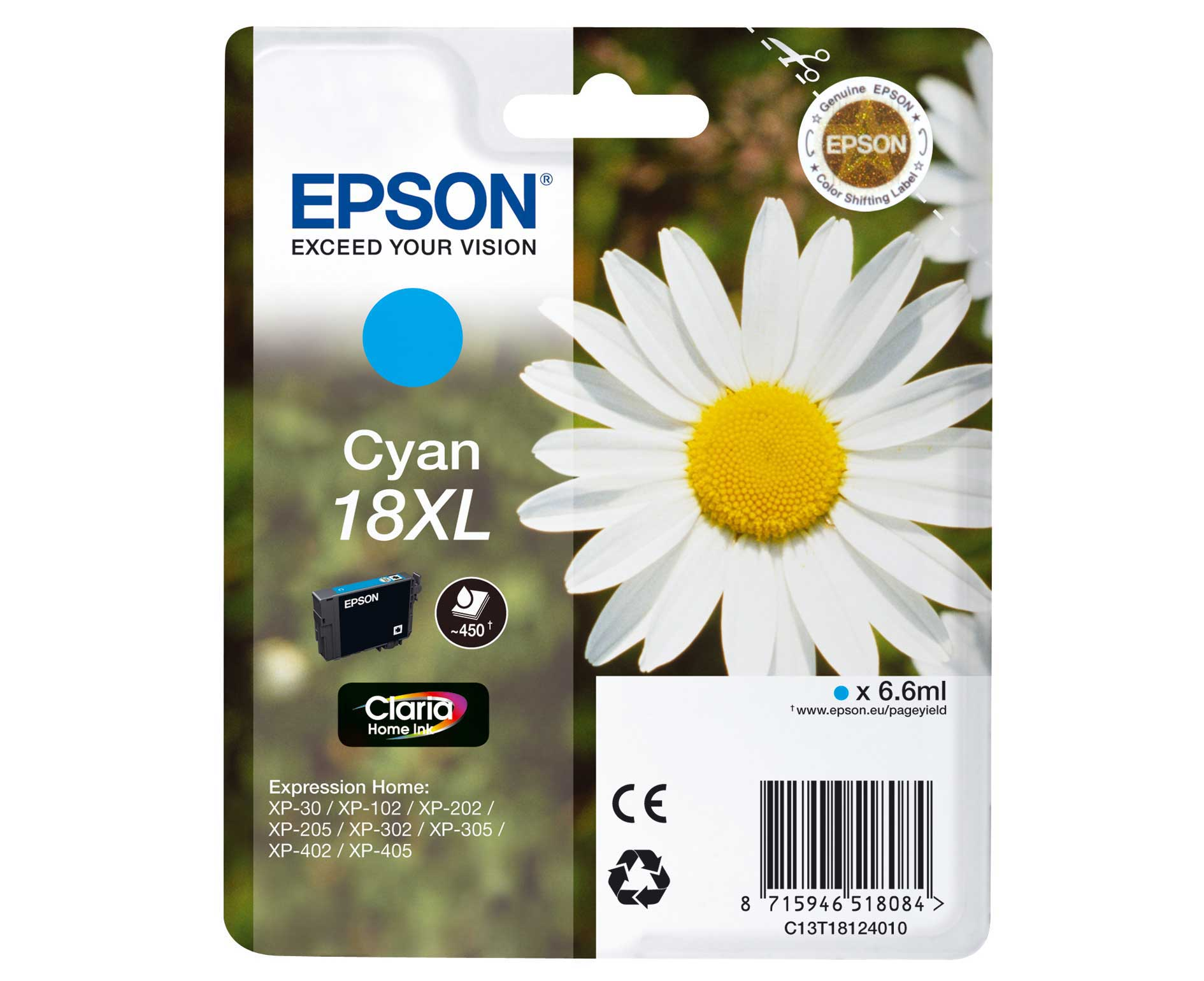 Epson T1812 Singlepack 18XL Claria Home Ink Cyan