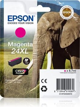 Epson Singlepack Magenta 24XL Claria Photo HD Ink