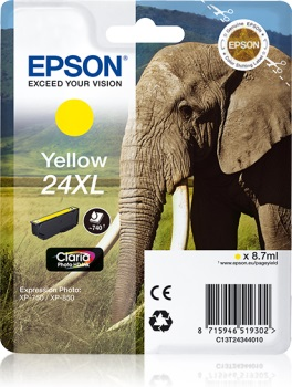 Epson Singlepack Yellow 24XL Claria Photo HD Ink
