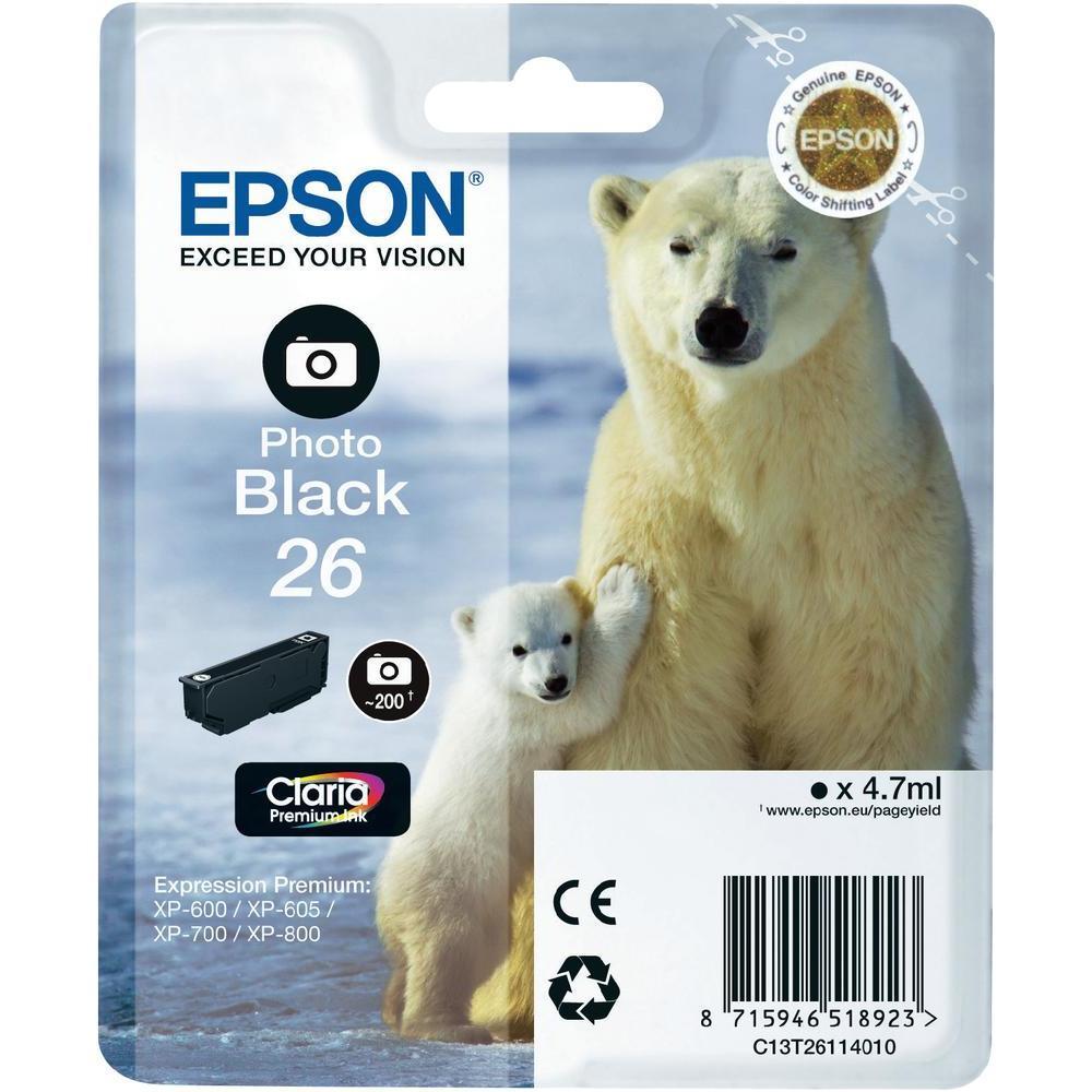 Epson T2611 Singl. 26 Claria Prem. Ink Photo Black