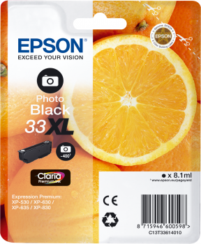 EPSON Singlepack Photo Black 33XL Claria Prem. Ink