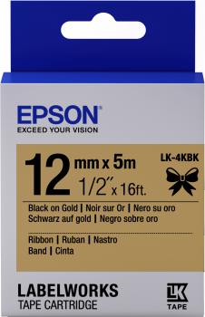 Epson zásobník se štítky – saténový pásek, LK-4KBK černá / zlatá, 12 mm (5 m) - C53S654001