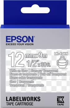 Epson Label Cartridge Transparent LK-4TWN Transparent White/transparent 12mm (9m) - C53S654013