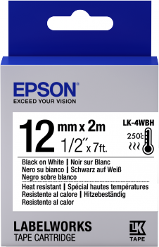 Epson Label Cartridge Heat Resistant LK-4WBH Black/White 12mm (2m) - C53S654025