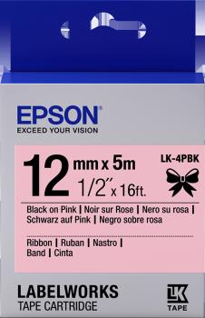 Epson zásobník se štítky – saténový pásek, LK-4HKK, černá/růžová, 12 mm (5 m) - C53S654031