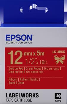 Epson zásobník se štítky – saténový pásek, LK-4HKK, zlatá/červená, 12 mm (5 m) - C53S654033