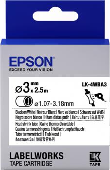 Epson Label Cartridge Heat Shrink Tube (HST) LK-4WBA3 Black/White D3mm (2.5m) - C53S654903
