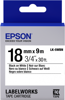 Epson Label Cartridge Standard LK-5WBN Black/White 18mm (9m) - C53S655006