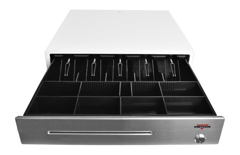 Pokladní zásuvka C430B - bez kabelu, kov. držáky, nerez panel/bílá