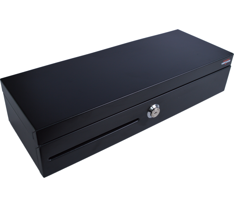 Pokladní zásuvka flip-top FT-460C - s kabelem, se zamykatelným krytem pořadače, 9-24V, černá - EKN0007