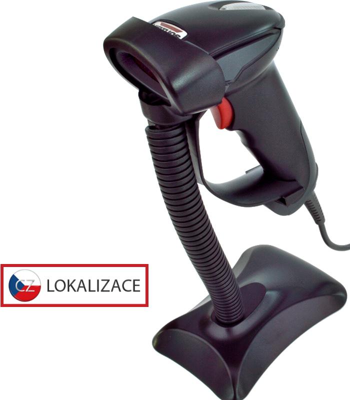 Laserová čtečka Virtuos HT-900A, USB (klávesnice/RS-232 emulace), stojánek, černá - EH02G0004