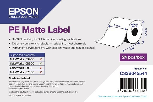 PE Matte Label - Continuous Roll: 51mm x 29m