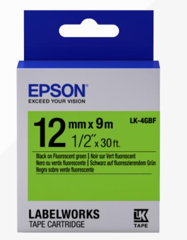 Epson Label Cartridge Fluorescent LK-4GBF Black/Green 12mm (9m) - C53S654018