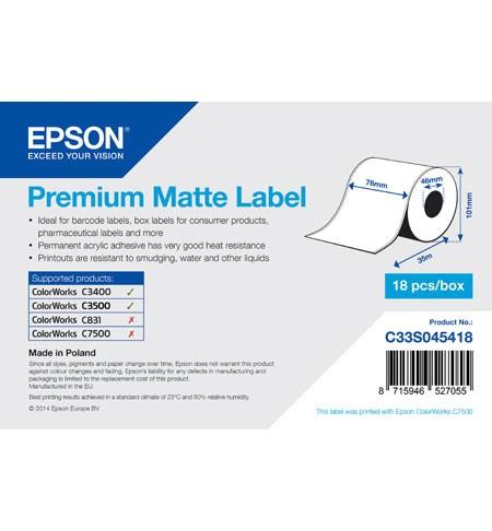 Premium Matte Label Cont.R, 76mm x 35m, MOQ 18ks - C33S045418
