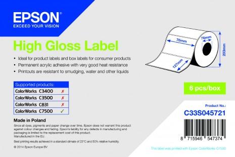 High Gloss Label - Die-cut Roll: 76mm x 127mm