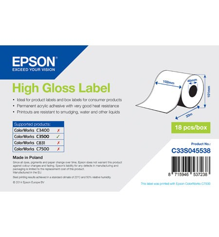 High Gloss Label Cont.R, 102mm x 33m - C33S045538