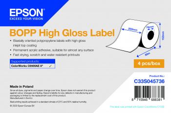 BOPP High Gloss Label Cont.R, 203mm x 68m