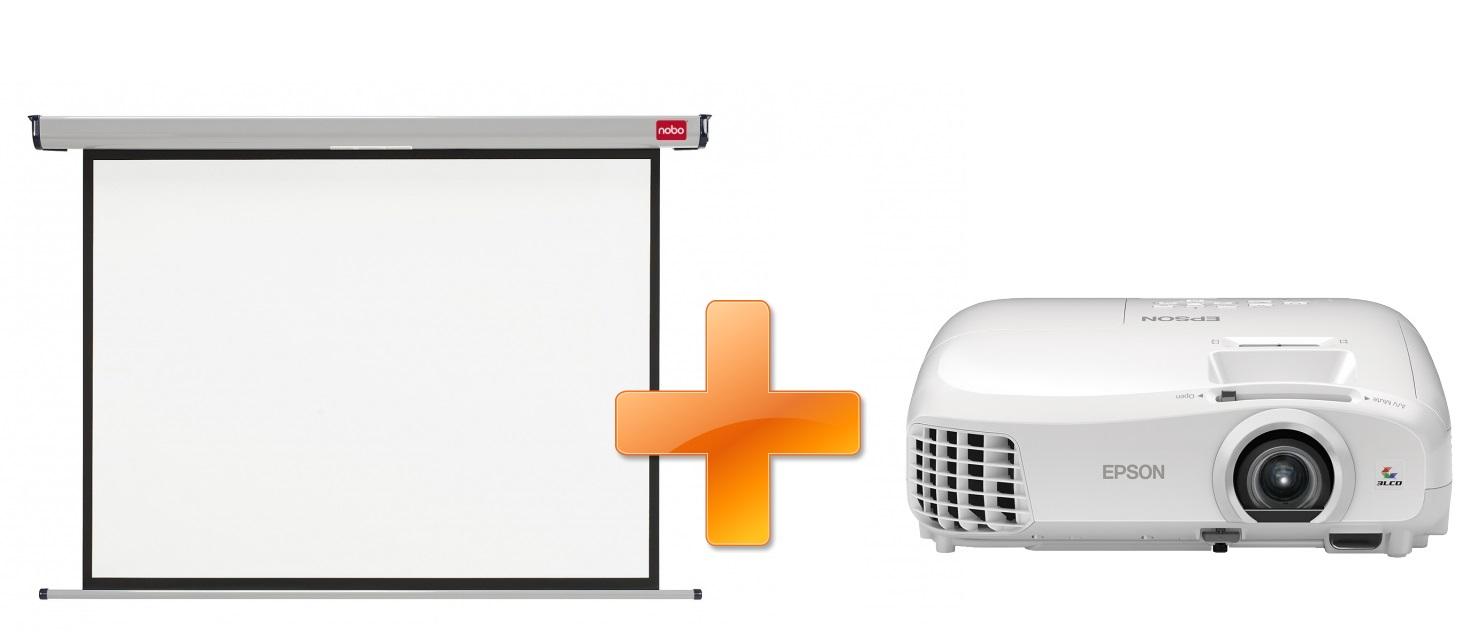 3LCD Epson EH-TW5210 Full HD 3D 2200 Ansi 30000:1 + plátno Nobo 200 x 135