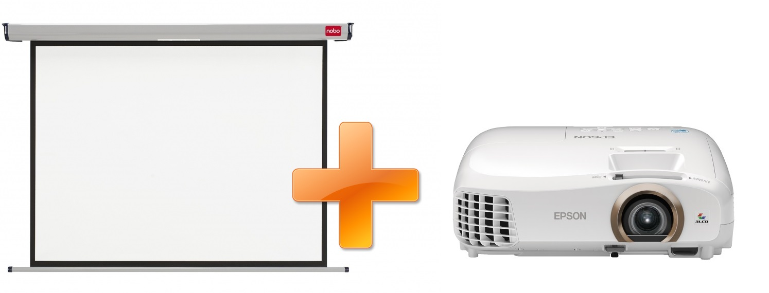3LCD Epson EH-TW5350 Full HD 3D 2200 Ansi 35000:1 + plátno Nobo 200 x 135