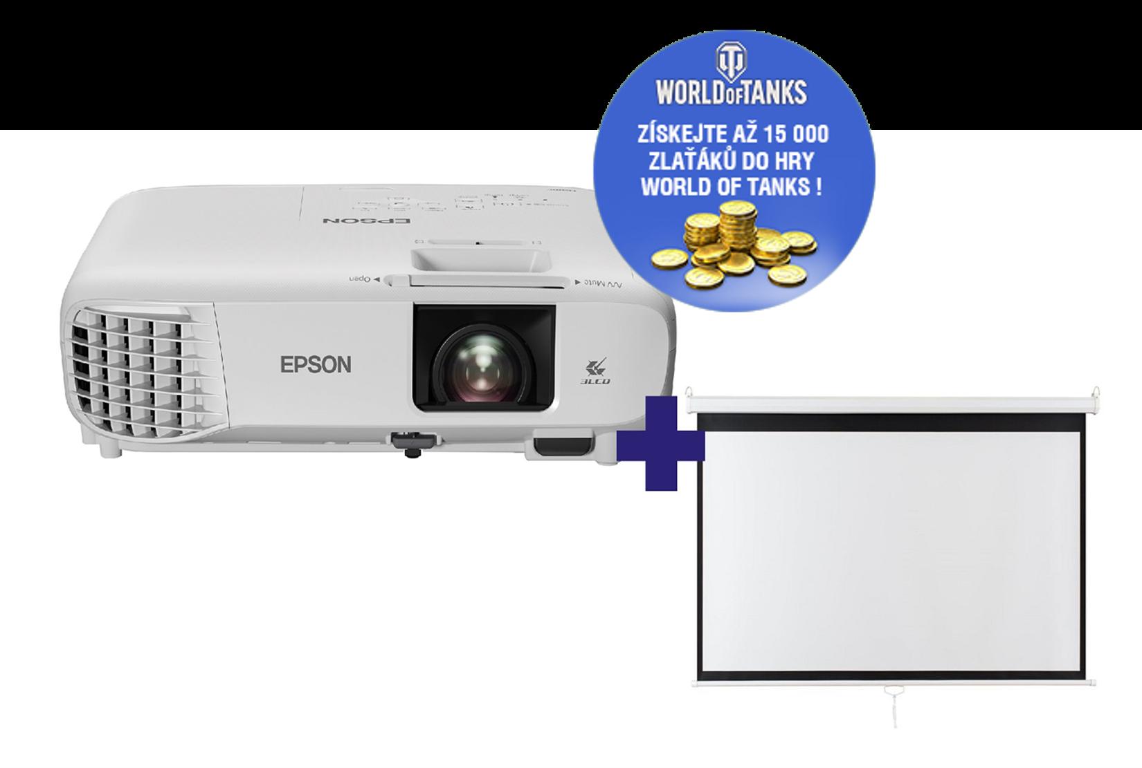 3LCD Epson EH-TW740 Full HD 3300 Ansi + plátno Aveli 200 x 125