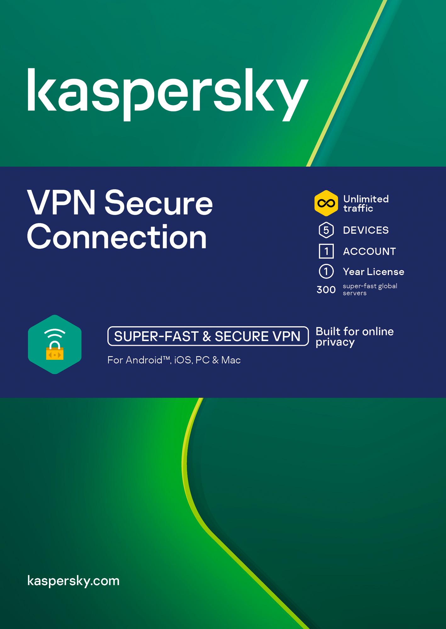 ESD Kaspersky Secure Connection 5x 1 uživatel 1 rok Nová - KL1987OCEFS