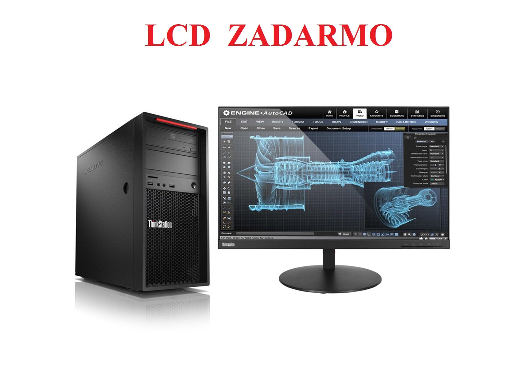 TS P520c TWR/W-2123/16GB/256SSD/DVD/W10P+LCD ZADARMO