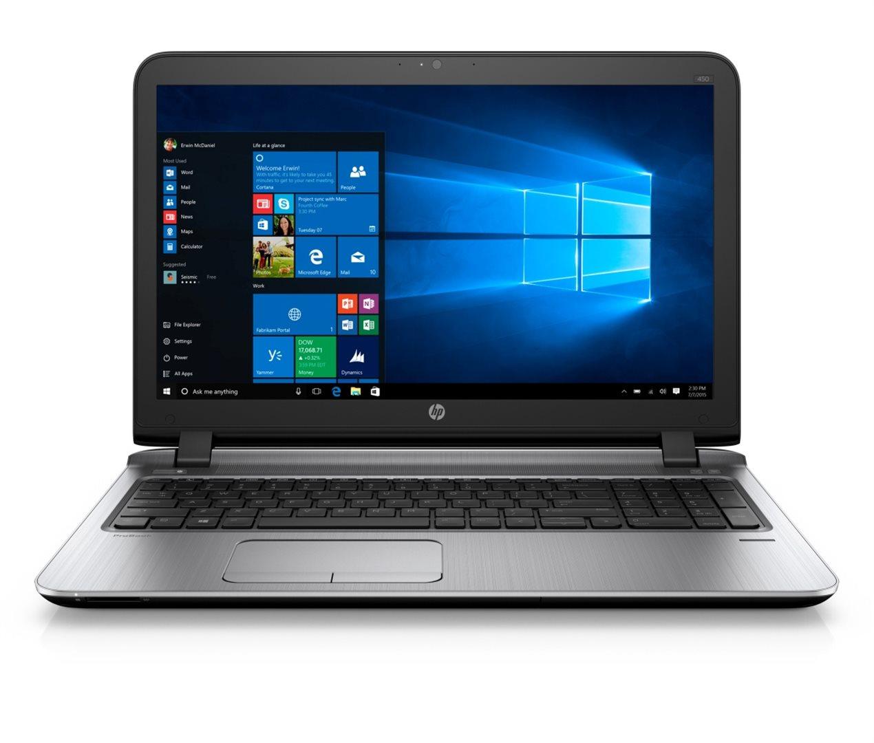 HP ProBook 450 G3 15.6 HD / i3-6100U / 4GB / 500GB / DVD / VGA / HDMI / RJ45 / WIFI / BT / MCR / FPR / 1Rservis / 7+10P